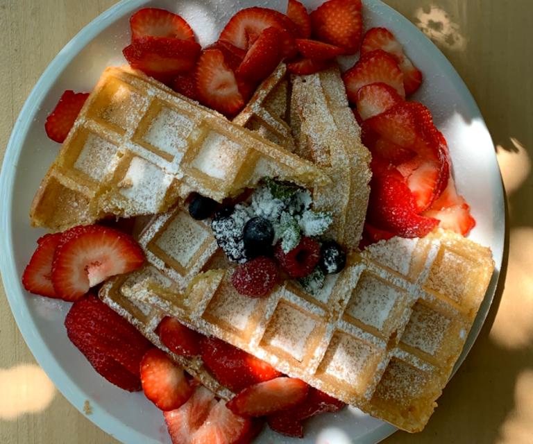 Wafel met aardbeien